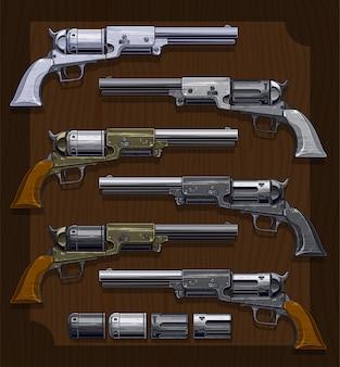Vieux revolvers graphiques détaillés