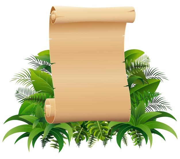 Vieux rouleau de papier roulé sur les feuilles