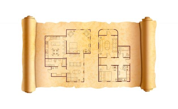 Vieux rouleau de papyrus texturé large avec plans de maison d'architecte sur blanc