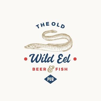 Le vieux symbole ou logo de signe abstrait de pub de bière d'anguille sauvage