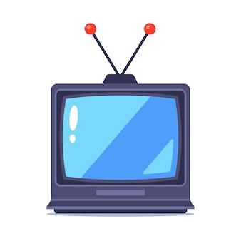 Vieux téléviseur avec antenne sur fond blanc. illustration.