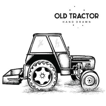 Vieux tracteur dessiné à la main