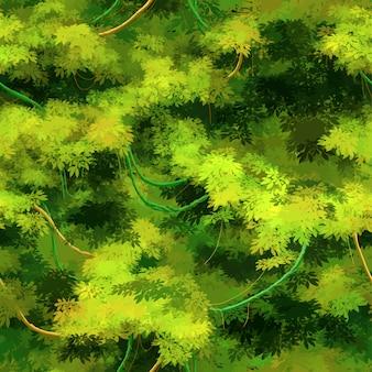 Vignes et arbustes tropicaux dessin animé mignon, modèle sans couture
