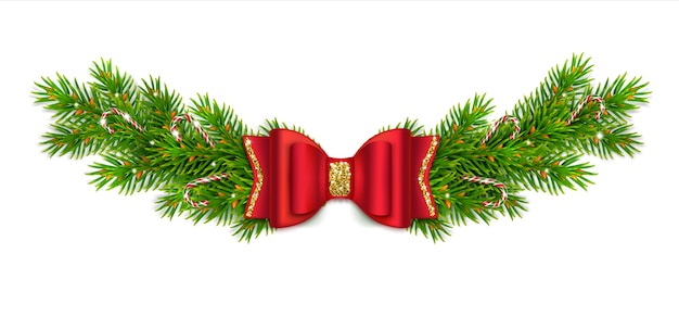 Vignette de noël avec des branches et des cônes de sapin, un arc rouge avec des rubans et des paillettes d'or. canne en bonbon au caramel. décor du nouvel an pour la maison.