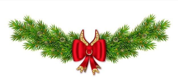 Vignette de noël avec des branches de sapin, arc rouge avec des rubans et des paillettes d'or. cornes de taureau comiques avec anneau.