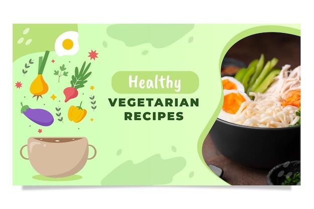 Vignette youtube d'aliments sains dessinés à la main