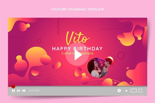 Vignette youtube d'anniversaire fluide abstrait dégradé