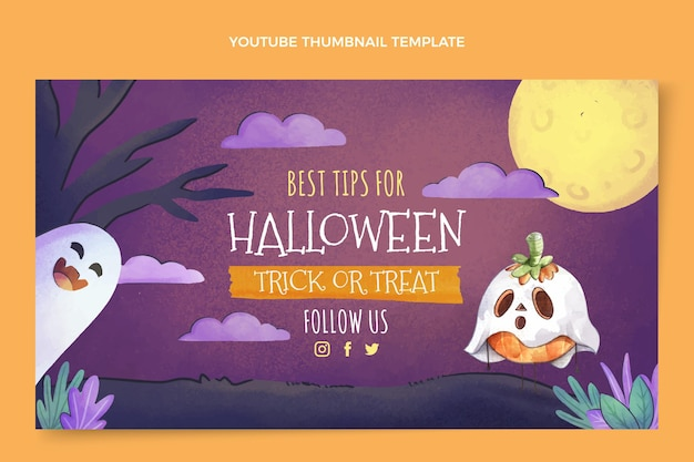 Vignette youtube aquarelle halloween