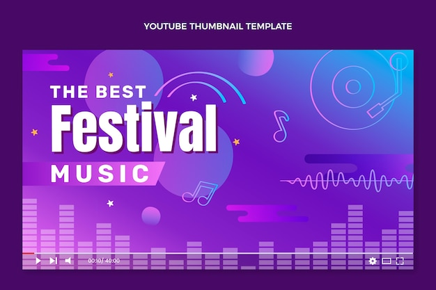 Vignette youtube du festival de musique coloré dégradé