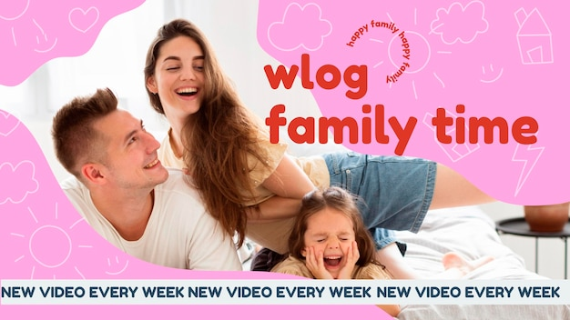 Vignette youtube famille dessinée à la main