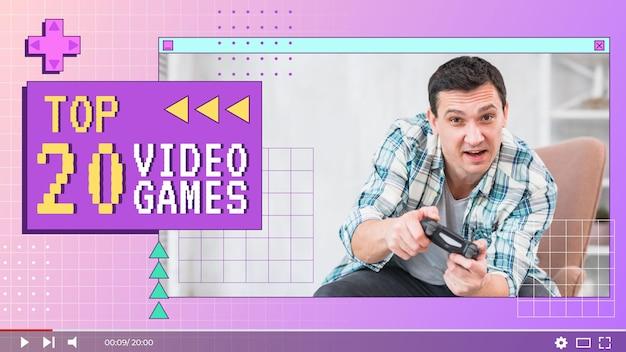 Vignette youtube de joueur rétro plat linéaire