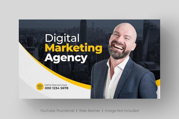 Vignette youtube et modèle de bannière web pour l'atelier en direct sur le marketing numérique