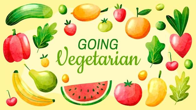 Vignette youtube de nourriture végétarienne aquarelle