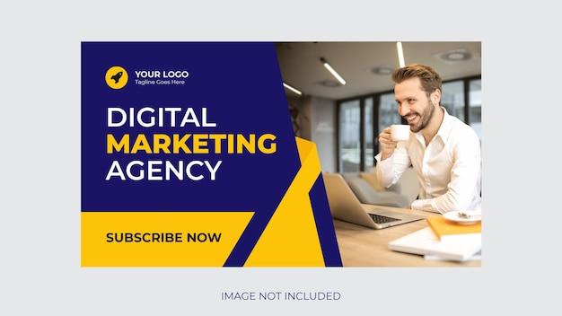 Vignette youtube pour tout modèle d'atelier de promotion de vidéo d'entreprise vecteur premium
