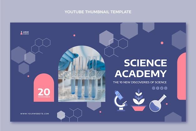 Vignette youtube science de style plat