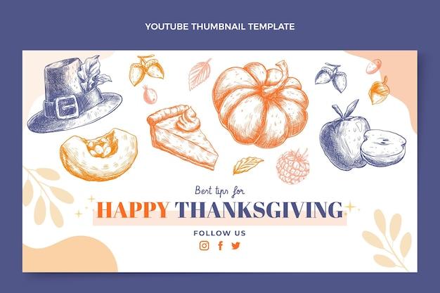 Vignette youtube de thanksgiving design plat dessiné à la main