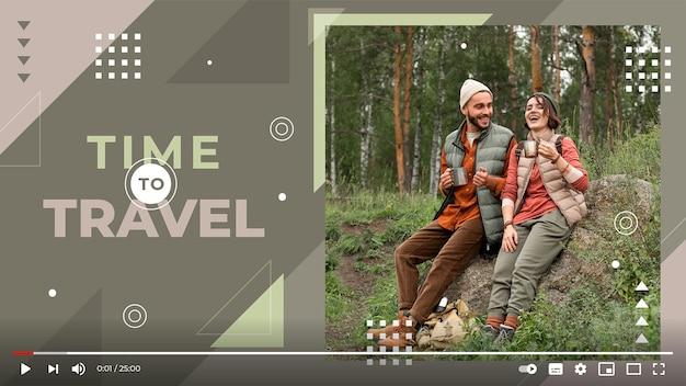Vignette youtube de voyage géométrique plat