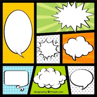 Vignettes avec des ballons de dialogue comique