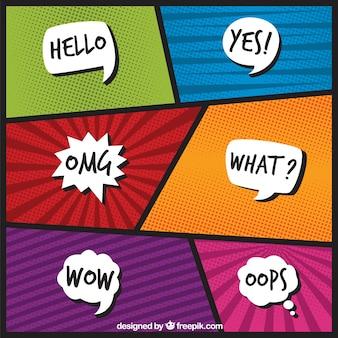 Vignettes comiques modernes avec des ballons de dialogue