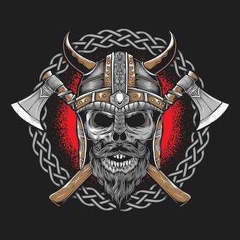 Viking avec hache isolé sur gris