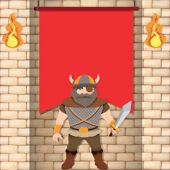 Viking mâle avec bannière rouge
