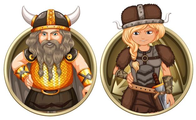 Viking mâle et femelle sur un badge rond