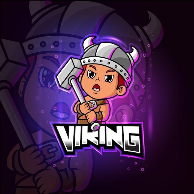 Viking mascotte esport logo coloré
