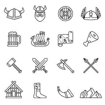 Viking nordic icon set avec un fond blanc. vecteur stock de style de ligne mince.