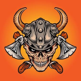 Viking nordique guerrier crâne hache isolé