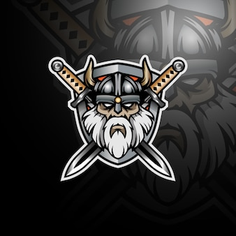 Viking avec quelques épées et bouclier logo esport