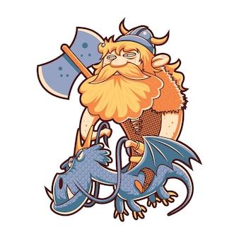 Viking volant avec dragon