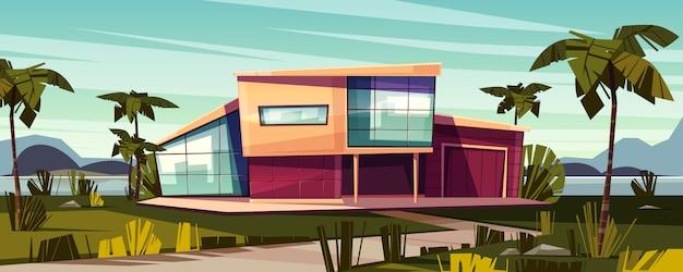 Villa de luxe sur l'illustration de dessin animé de plage tropicale.