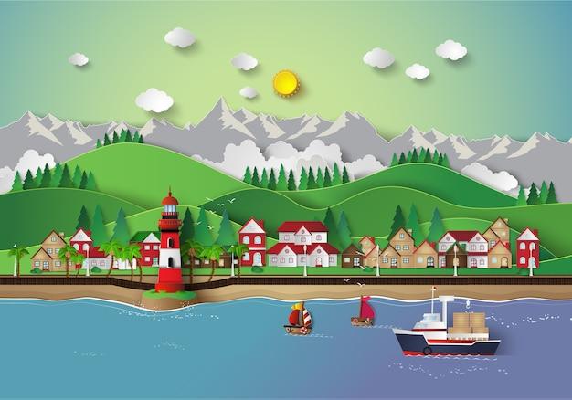 Village et baie de mer.