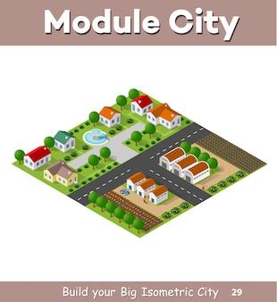 Village de campagne de maisons en rangée et de maisons rurales avec des routes