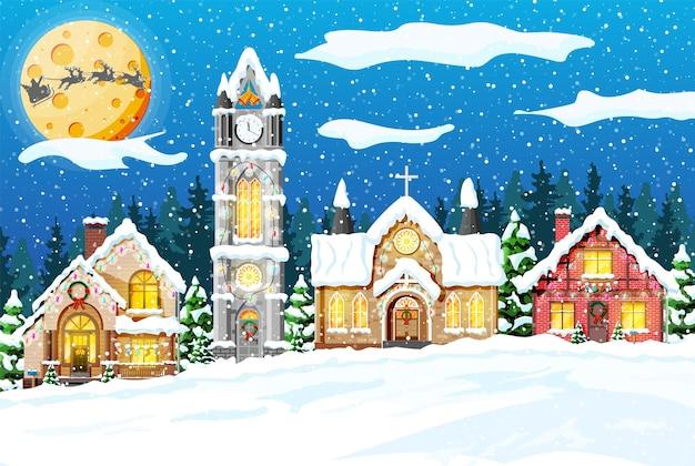Village couvert de neige.