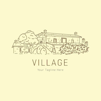 Village de croquis d'une ligne avec logo paysage