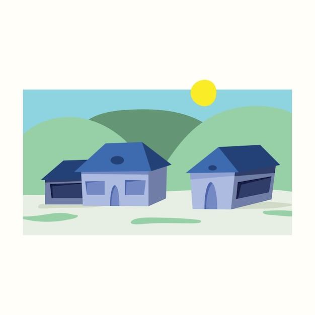 Village dans les collines. illustration vectorielle dans un style plat