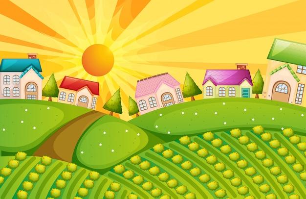 Un village avec ferme