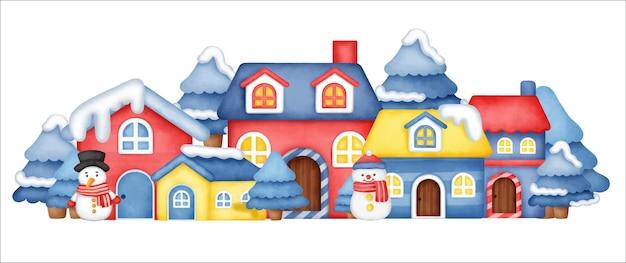 Village d'hiver pour la bannière du jour de noël.