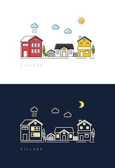 Village jour à nuit