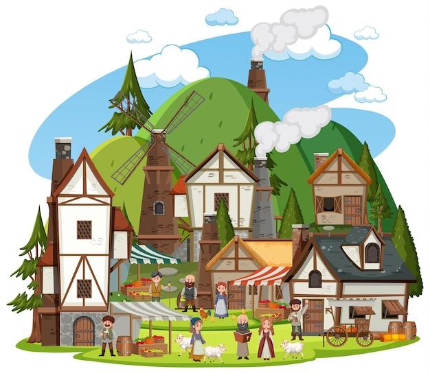 Village médiéval avec des villageois sur fond blanc