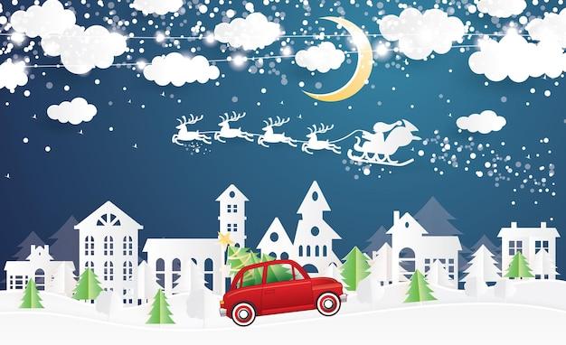 Village de noël et père noël en traîneau en style papier découpé. camion rouge transporter l'arbre de noël. paysage d'hiver avec la lune et les nuages. illustration vectorielle. joyeux noel et bonne année.