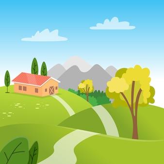 Village de paysage de printemps dégradé avec un chalet