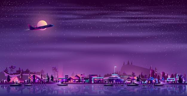 Village de pêcheurs sur le dessin animé néon au bord de mer