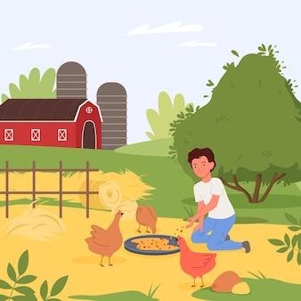 Village rural paysage vector illustration caractère enfant aidant à nourrir les poulets dans la basse-cour