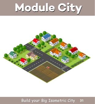 Village village une vue isométrique et un jardin
