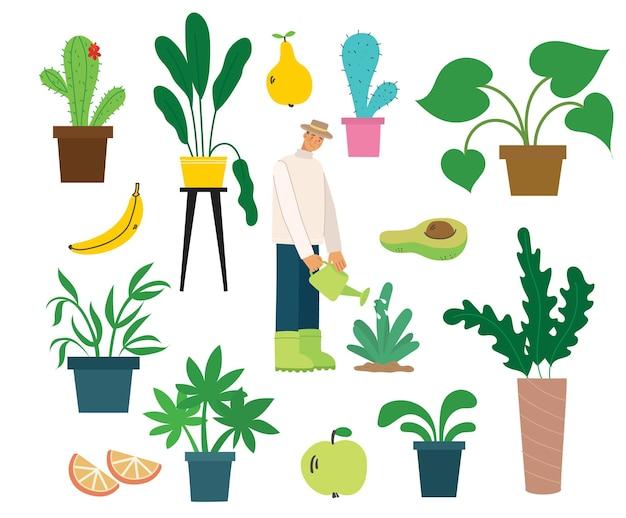 Villageois avec des aliments biologiques, des fleurs et des plantes au design plat