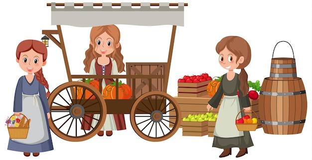 Villageois médiévaux au magasin de fruits sur fond blanc
