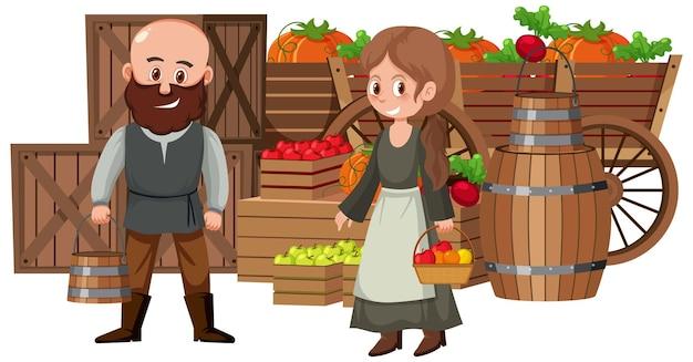 Villageois médiévaux au magasin de fruits