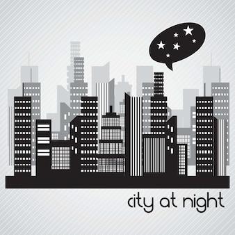 Ville au paysage nocturne sur fond gris